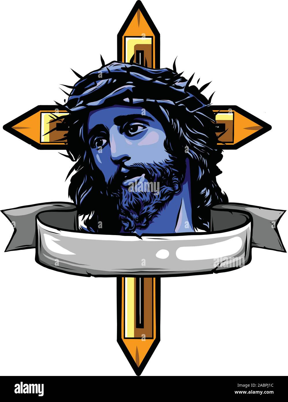 Jesus Crown Cartoon – Jesus christ, the son of god in a crown of thorns on his head, a symbol of christianity hand drawn vector illustration.