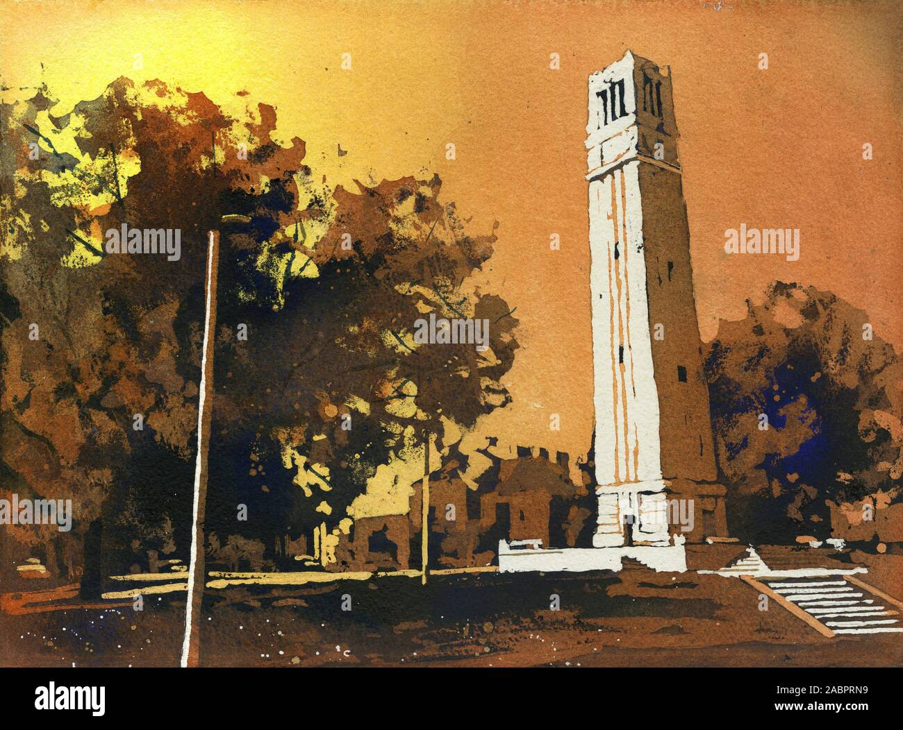 Painting of the North Carolina Statue University Bell-Tower in Raleigh, NC at dusk. NCSU artwork bell tower Stock Photo