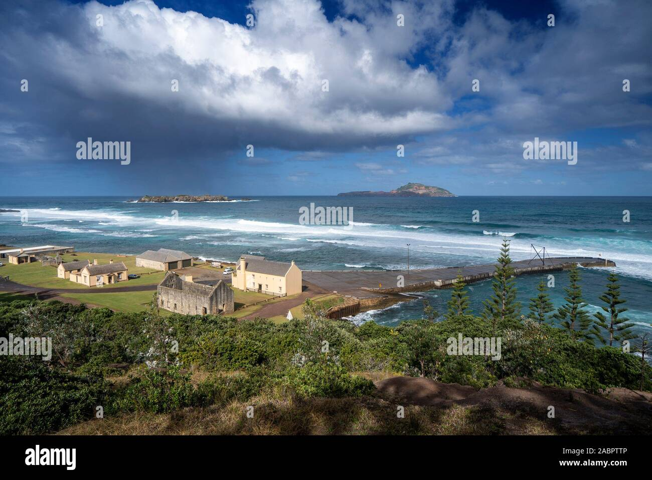 Kingston and Arthur's Vale Historic Area, one of the eleven sites making up the Australian Convict Sites World Heritage Property. Norfolk Island. Stock Photo