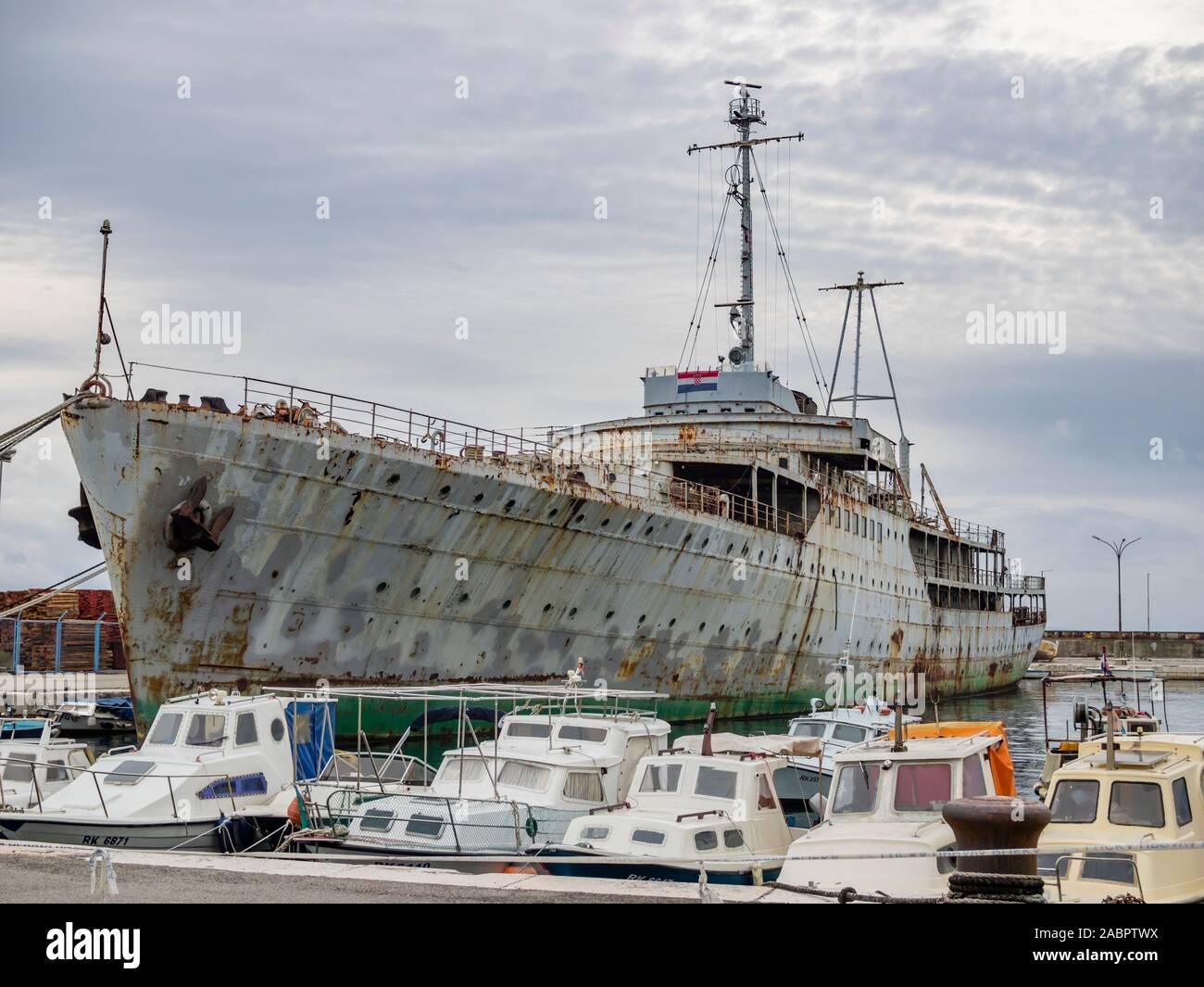 Ship Galeb in derelict state Rijeka Croatia ex president Josip Broz Tito's ship of Yugoslavian era Stock Photo