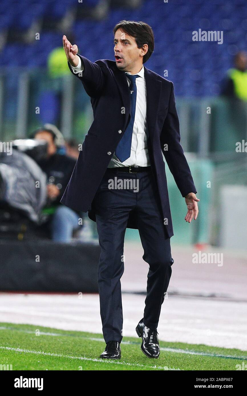 Head coach of Lazio Simone Inzaghi gestures during the UEFA Europa League, Group E football match between SS Lazio and CFR Cluj on November 28, 2019 at Stadio Olimpico in Rome, Italy - Photo Federico Proietti/ESPA-Images Stock Photo
