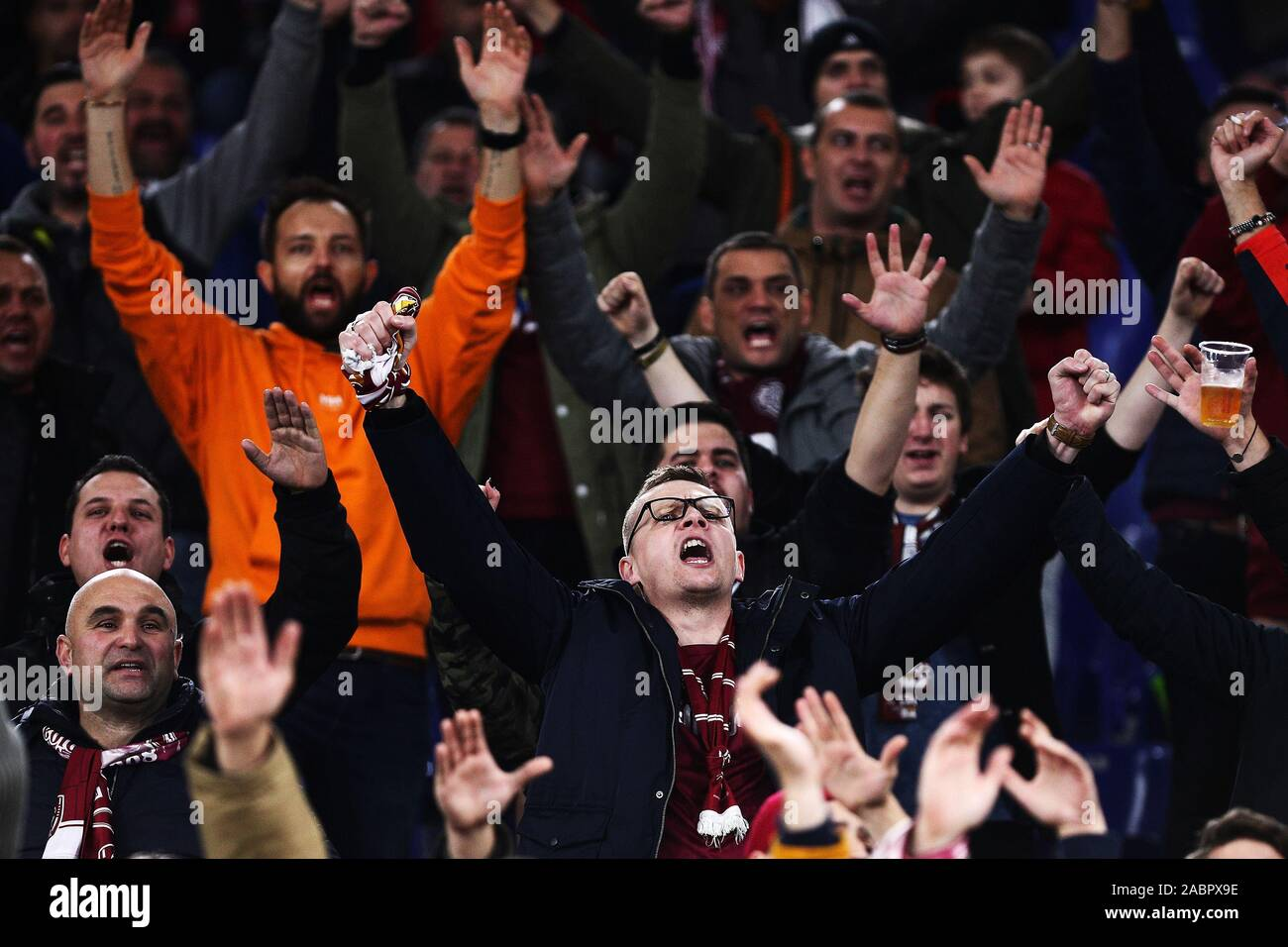 Supporters of Cluj before the UEFA Europa League, Group E football match between SS Lazio and CFR Cluj on November 28, 2019 at Stadio Olimpico in Rome, Italy - Photo Federico Proietti/ESPA-Images Stock Photo