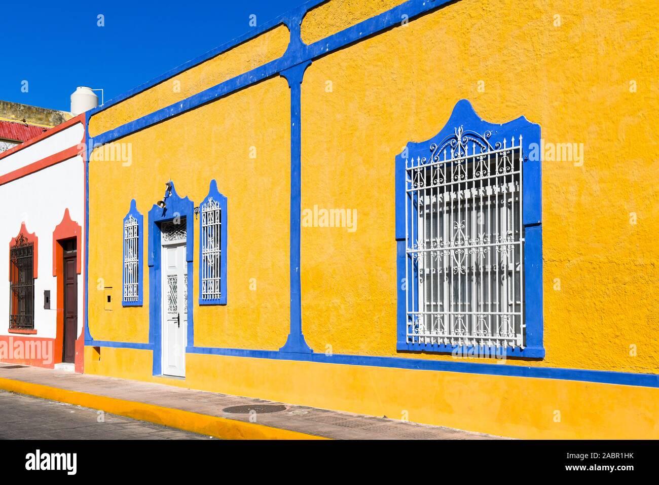 Colonial style architecture, Merida City Center, Mexico Stock Photo