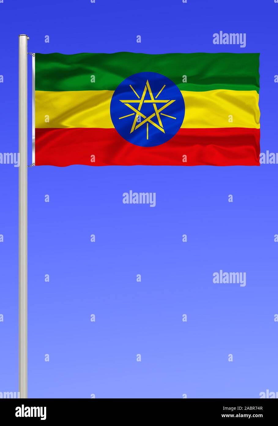 Flagge von Aethiopien, Binnenstaat in Nordafrika, Afrika, frueher Abessinien, Hauptstadt is Addis Abeba, Stock Photo