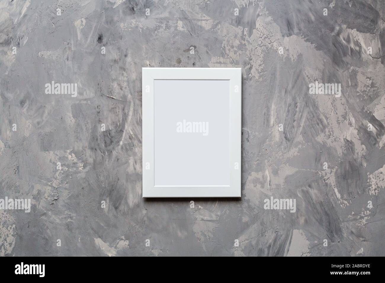 photo frame on gray concrete background. Wedding. Birthday. Happy woman's day. Mothers Day. Valentine's Day. Flat lay, top view, mockup, template Stock Photo