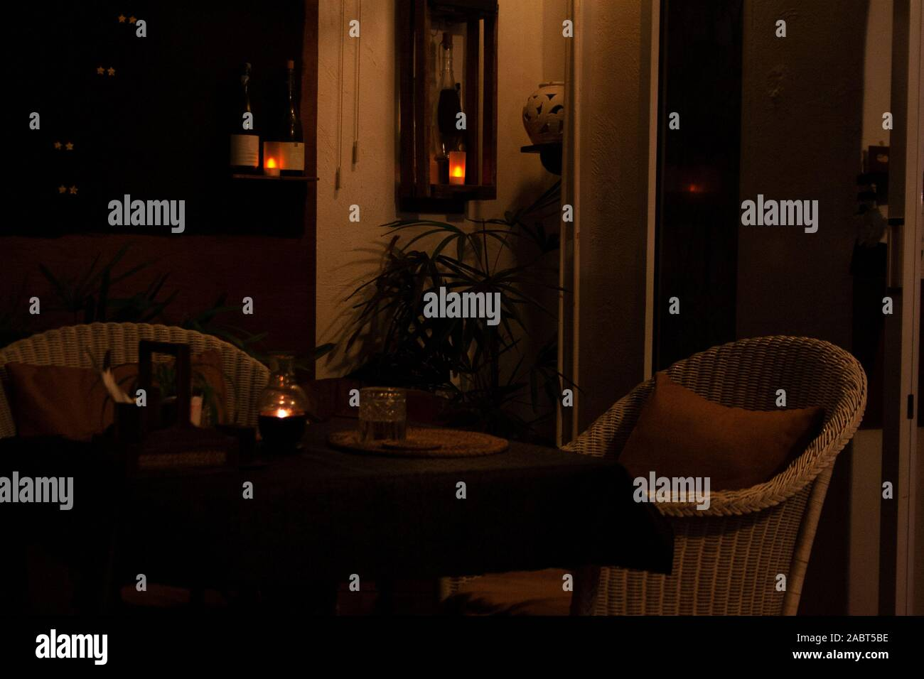 Cozy French Cafe Interior Detail With Candles Glow In The Evening Near Seaside Of Koh Samui Island Thailand Stock Photo Alamy