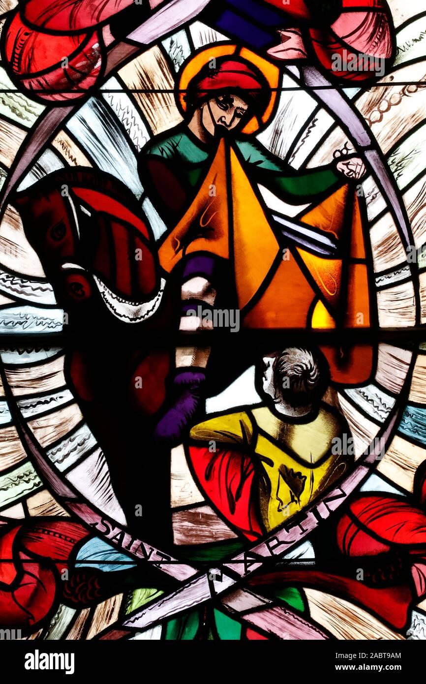 Saint Joseph des Fins church. Saint Martin. Stained glass window.  Annecy. France. Stock Photo