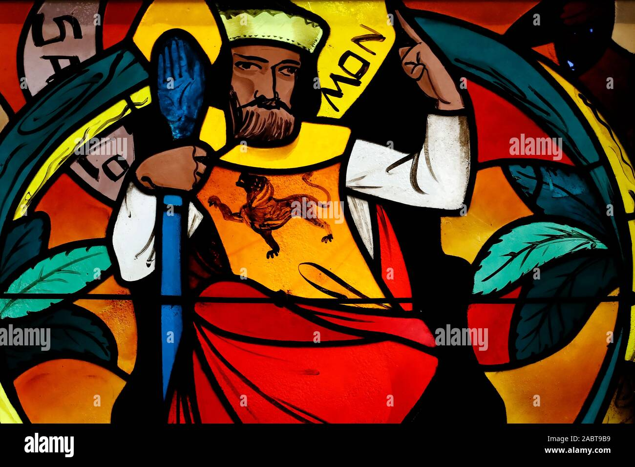 Saint Joseph des Fins church. King Solomon. Stained glass window.  Annecy. France. Stock Photo
