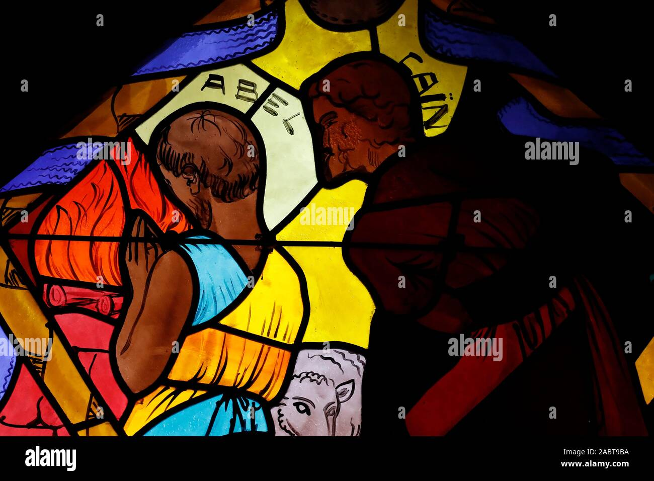 Saint Joseph des Fins church. Abel and Cain.  Stained glass window.  Annecy. France. Stock Photo
