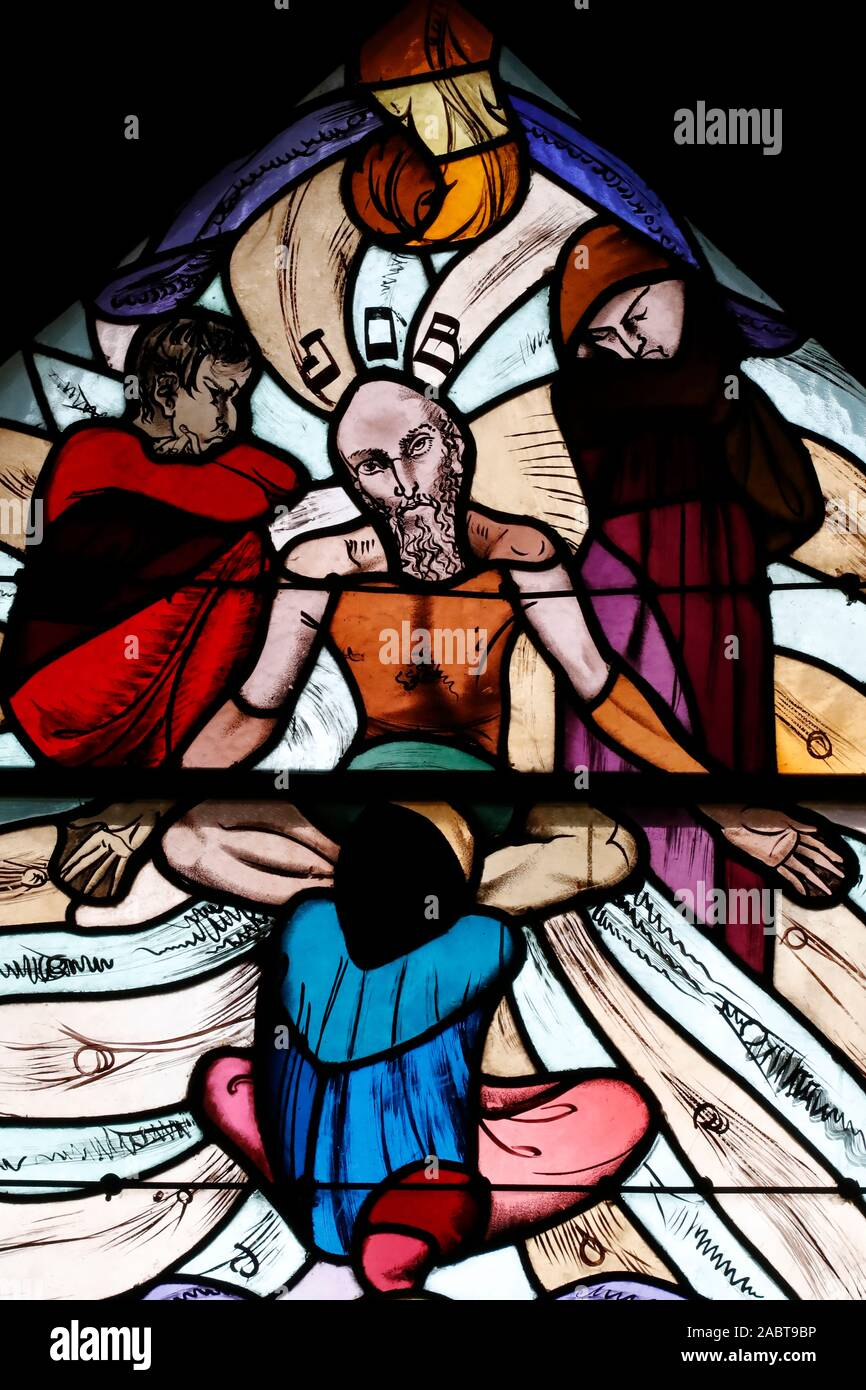 Saint Joseph des Fins church. Job the prophet.  Stained glass window.  Annecy. France. Stock Photo