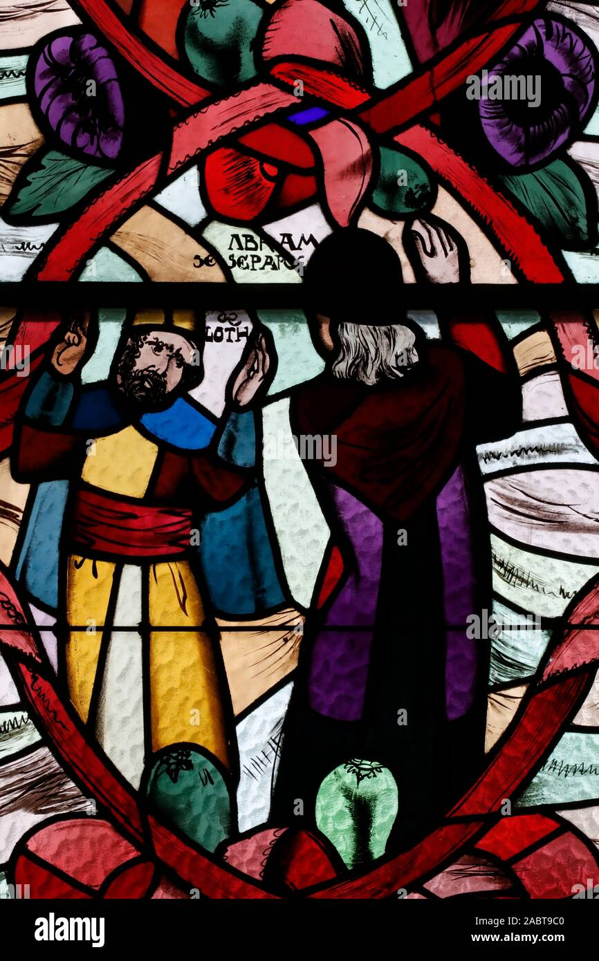 Saint Joseph des Fins church.  Abraham and Loth.  Stained glass window.  Annecy. France. Stock Photo