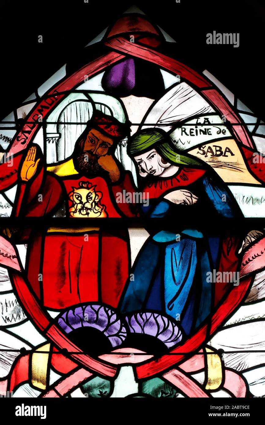Saint Joseph des Fins church. Queen of Sheba and King Solomon. Stained glass window.  Annecy. France. Stock Photo