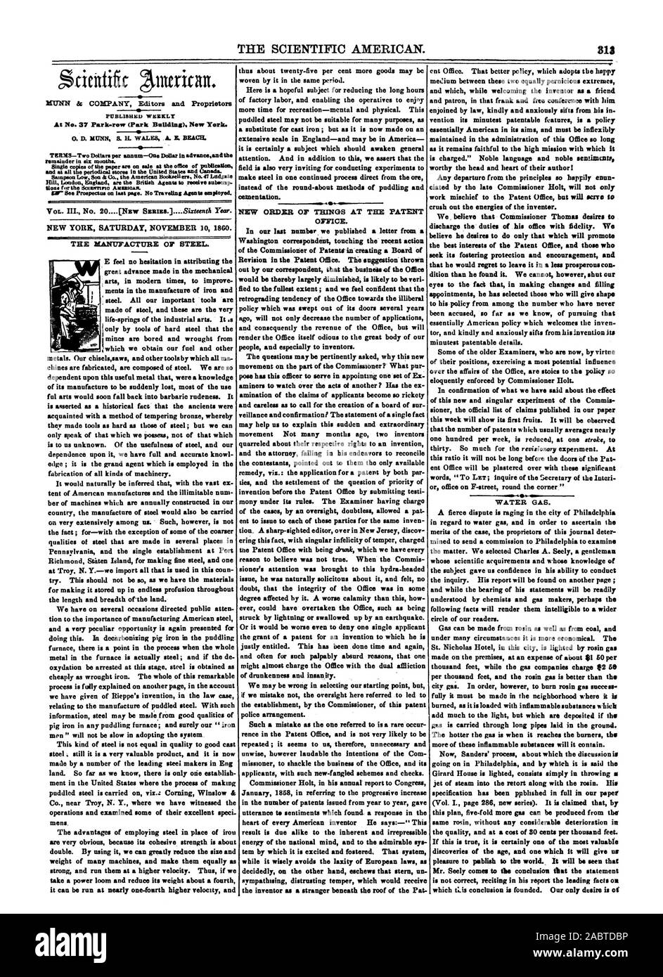 this plan five-fold more gas can be produced from the' same rosin without any considerable deterioration in If this is true it is certainly one of the most valuable discoveries of the age and one which it will give us Mr. Seely comes to the conclusion that the statement is not correct reciting in his report the leading facts on, scientific american, 1860-11-10 Stock Photo