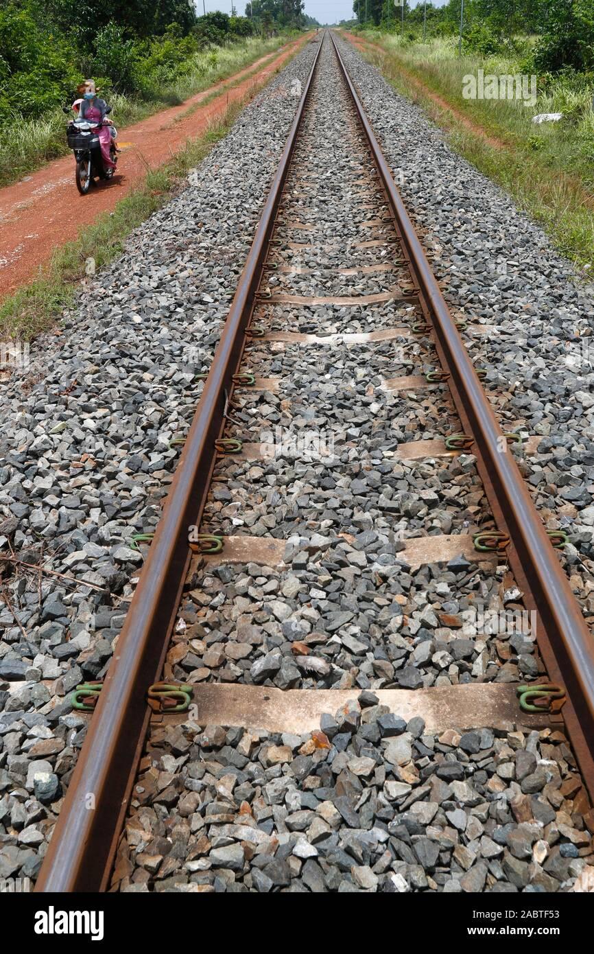Railway track.  Kep. Cambodia. Stock Photo