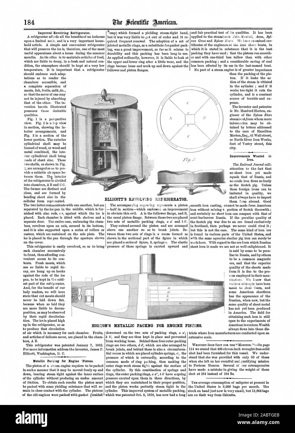 ELLICOTT'S REVOLVING REFRIGERATOR. HORTON'S NETALLIC PACKNG FOR ENGINE PISTONS., scientific american, 1862-03-22 Stock Photo