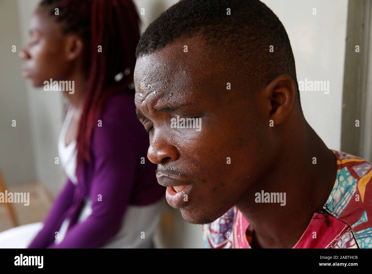 Evangelicals praying before starting work in Lome, Togo. Stock Photo