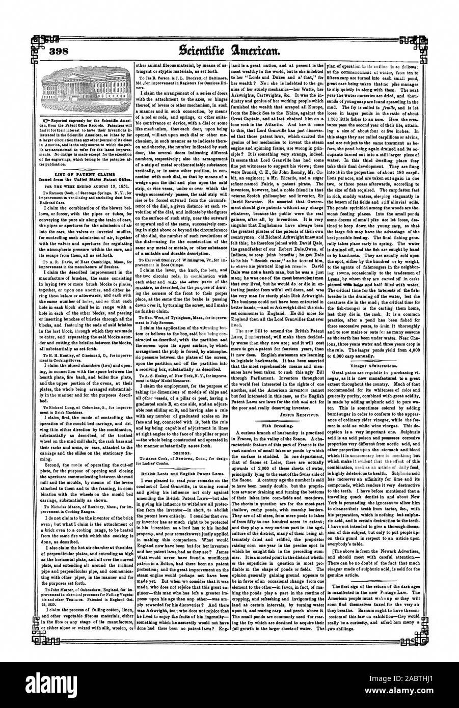 improvement m ventilating and excluding dust from Railroad Cars. To A. R. Davis of East Cambfidge Mass. for improvement in the manufacture of Brushes. To H. H. Huntley of Cincinnati 0. for improve ment in Cooking Stoves. To Richard Long of Columhns 0. for improve ment in Brick Machines. To Nicholas Mason of Roxbury Mass. for im provement in Cooking Ranges. To John Mercer of Oakeashaw England for im provement in chemical processes for Fulling Vegeta ble and other Textures. Patented in England Oct. 21 MO. 'AY To Ira B. Person & J. L. Brookett of Baltimore Md. for improvement in Registere for Stock Photo