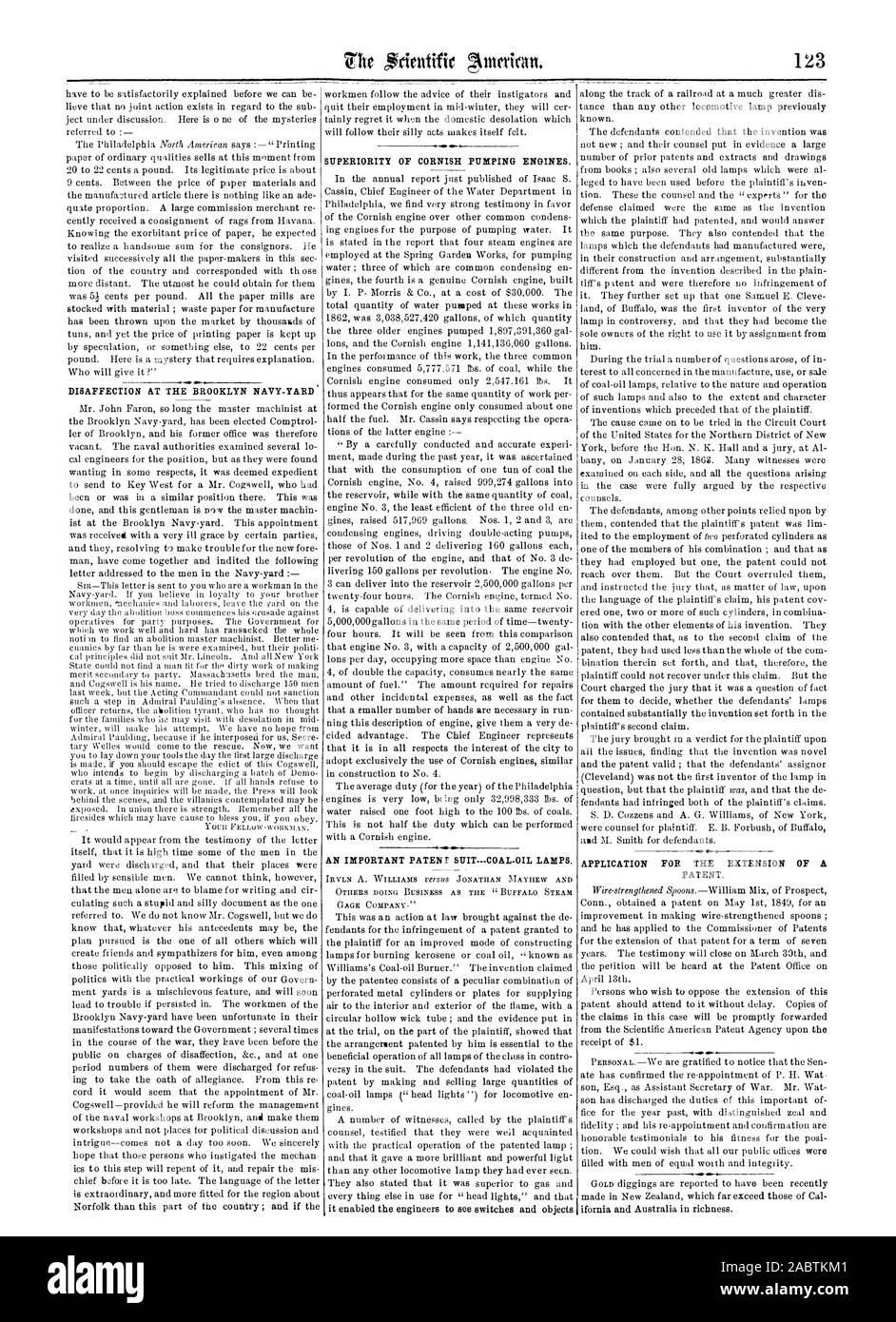 DISAFFECTION AT THE BROOKLYN NAVY-YARD SUPERIORITY OF CORNISH PUMPING ENGINES. AN IMPORTANT PATENT SUIT—COAL-OIL LAMPS. APPLICATION FOR THE EXTENSION OF A PATENT., scientific american, 1863-02-21 Stock Photo