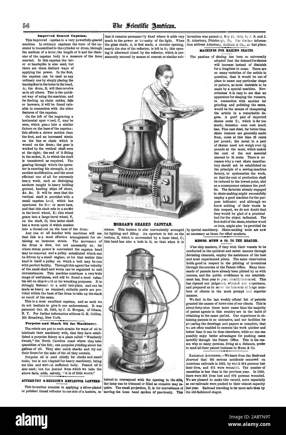 Improved Geared Capstan. Porpoise and Shark Oil for Machinery. ATTERB DRY & REDDICK'S REFLECTOR LANTERN MORGAN'S GEARED CAPSTAN. MACHINES FOR MAKING SKATES. MESSRS. WINN & CO. TO THE READER., scientific american, 1864-01-23 Stock Photo