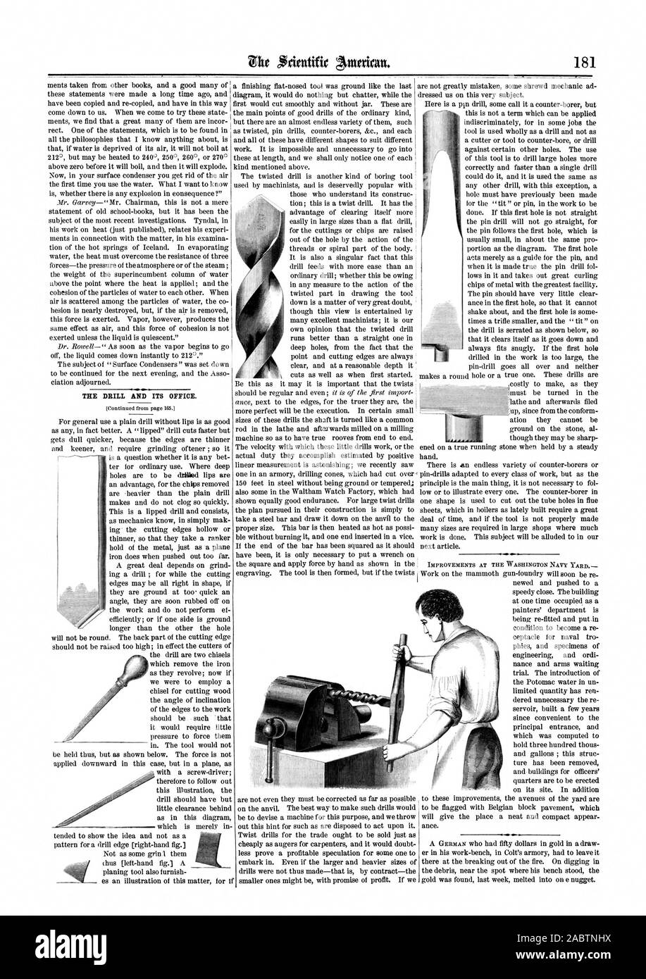 THE DRILL AND ITS OFFICE. (Continued from page 165.1 IMPROVEMENTS AT THE WASHINGTON NAVY YARD, scientific american, 1864-03-19 Stock Photo