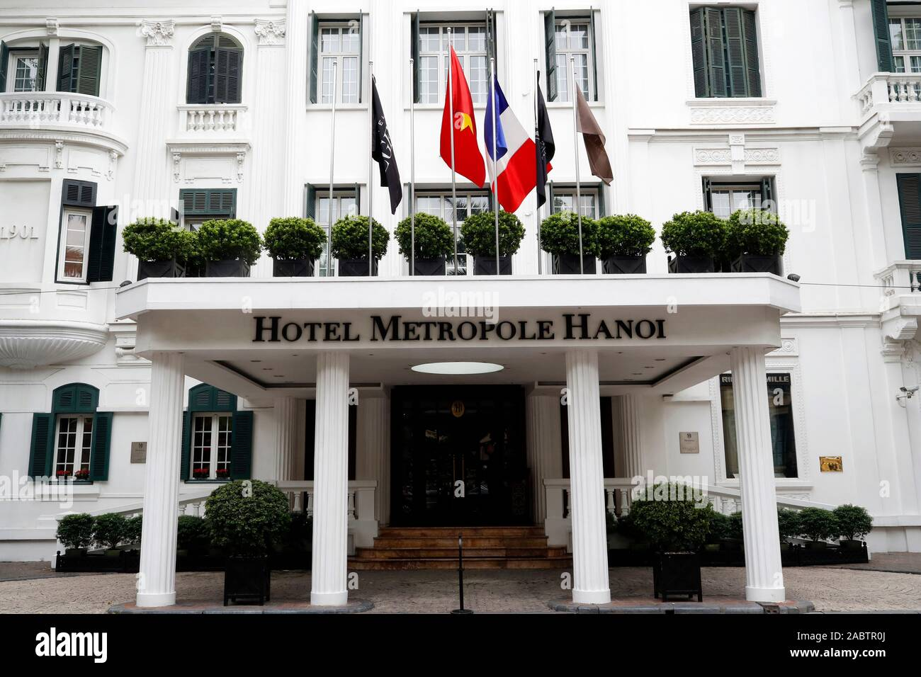 Hotel Metrople built in the French colonial style.  Hanoi. Vietnam. Stock Photo