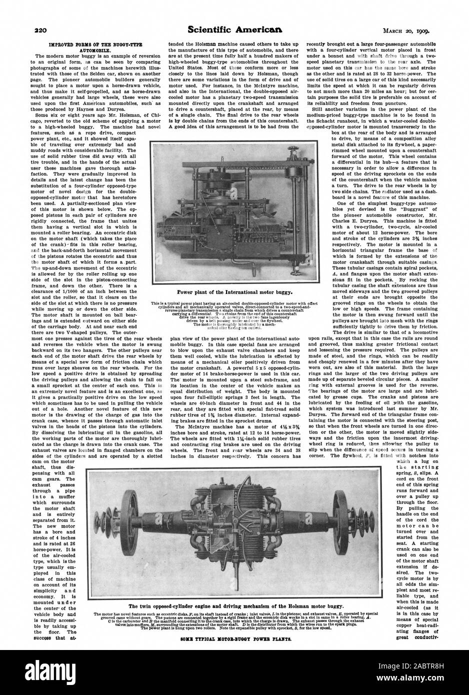 IMPROVED FORMS OP THE BUOGY-TTPE AUTOMOBILE. success that at. great conduetiv Power plant of the International motor buggy. SONE TYPICAL MOTOR-BUGGY POWER PLANTS., scientific american, -1909-03-20 Stock Photo