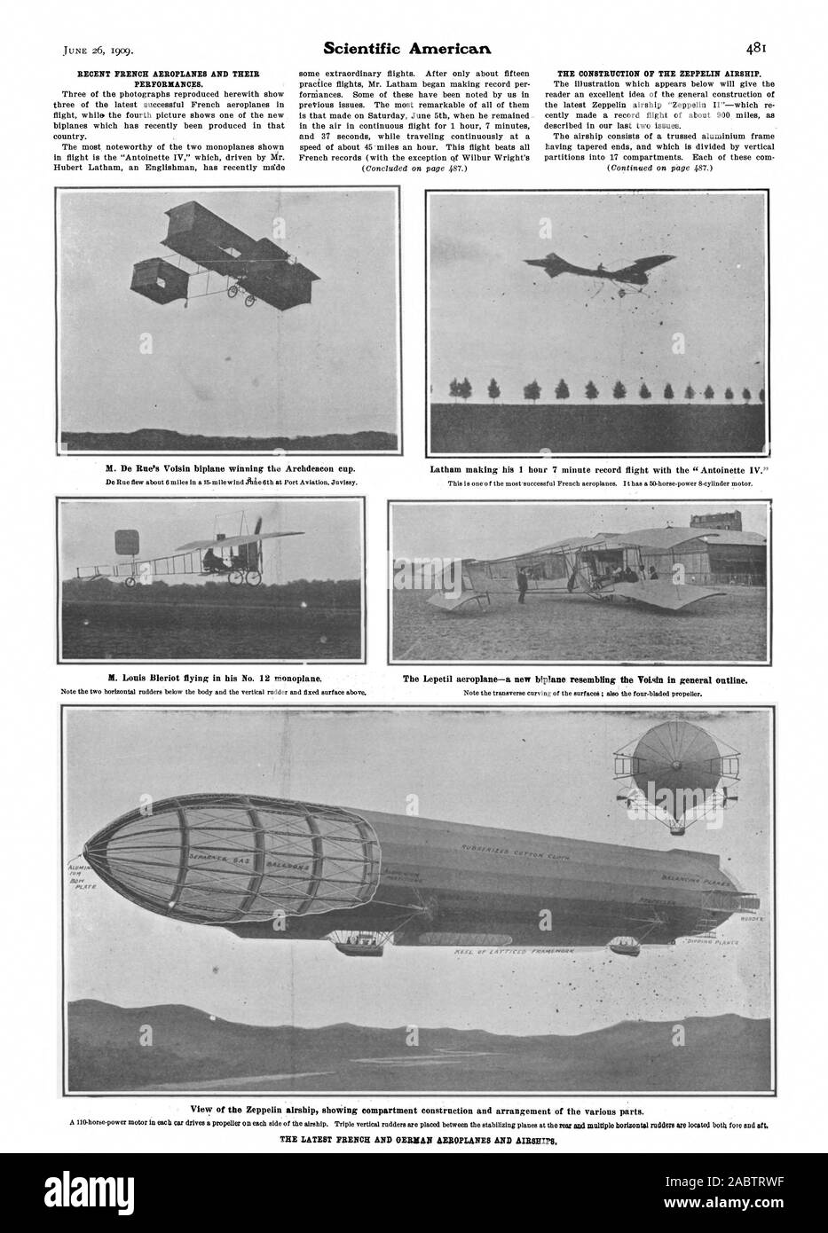 M. De Rue's Voisin biplane winning the Archdeacon cup. M. Louis Bleriot flying in his No. 12 monoplane. Latham making his 1 hour 7 minute record flight with the 'Antoinette IV.' The Lepetil aeroplane—a new biplane resembling the Votigin in general outline. View of the Zeppelin airship showing compartment construction and arrangement of the various parts. THE LATEST FRENCH AND GERMAN AEROPLANES AND AIRSHIPS., scientific american, -1909-06-26 Stock Photo