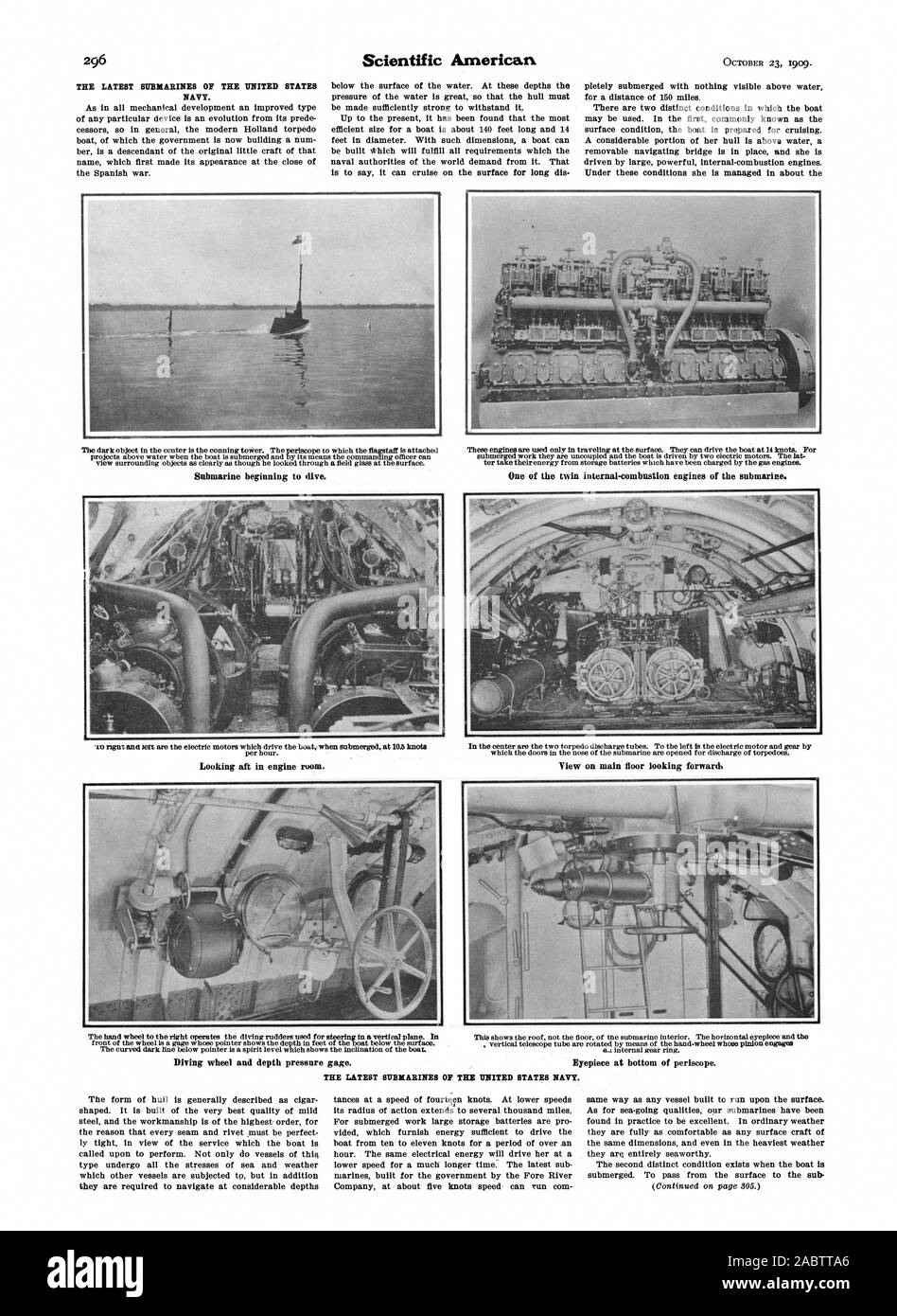 Submarine beginning to dive. One of the twin internal-combustion engines of the submarine. Looking aft in engine room. View on main floor looking forward. Diving wheel and depth pressure gage., scientific american, -1909-10-23 Stock Photo
