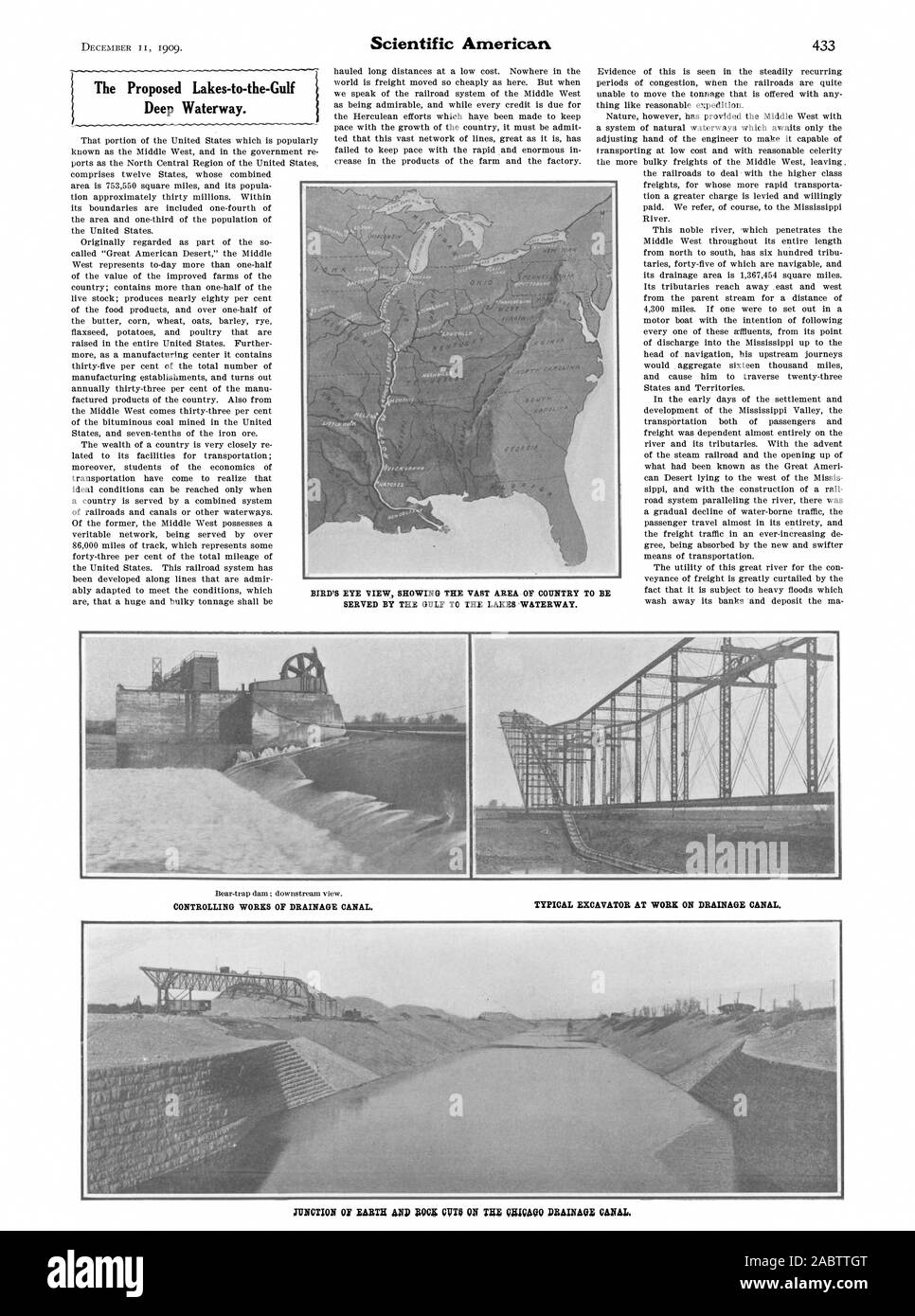 The proposed Lakes-to-the-Gulf Deep Waterway. Scientific American, 1909-12-11 Stock Photo