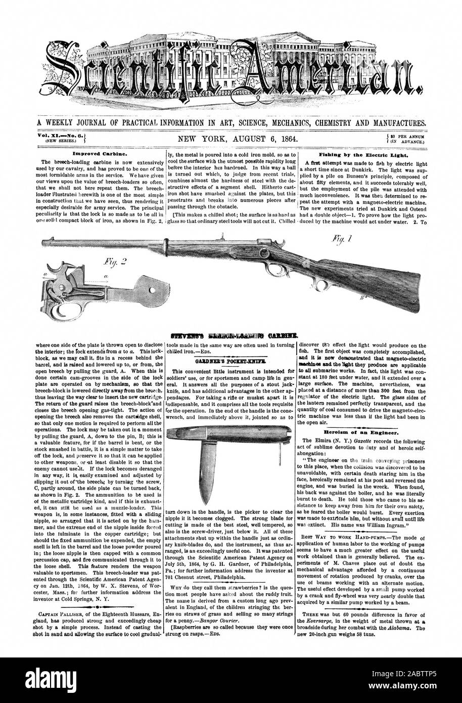 $3 PER ANNUM (IN ADVANCE.) Improved Carbine. Fishing by the Electric Eight. IRIMMUNAD010 OAEBBIL shot in sand and allowing the surface to cool gradual and it is now demonstrated that magneto-electric machines and the light they produce are applicable to all submarine works. In fact this light was con Heroism of an Engineer. new 20-inch gun weighs 58 tuns., scientific american, 64-08-06 Stock Photo