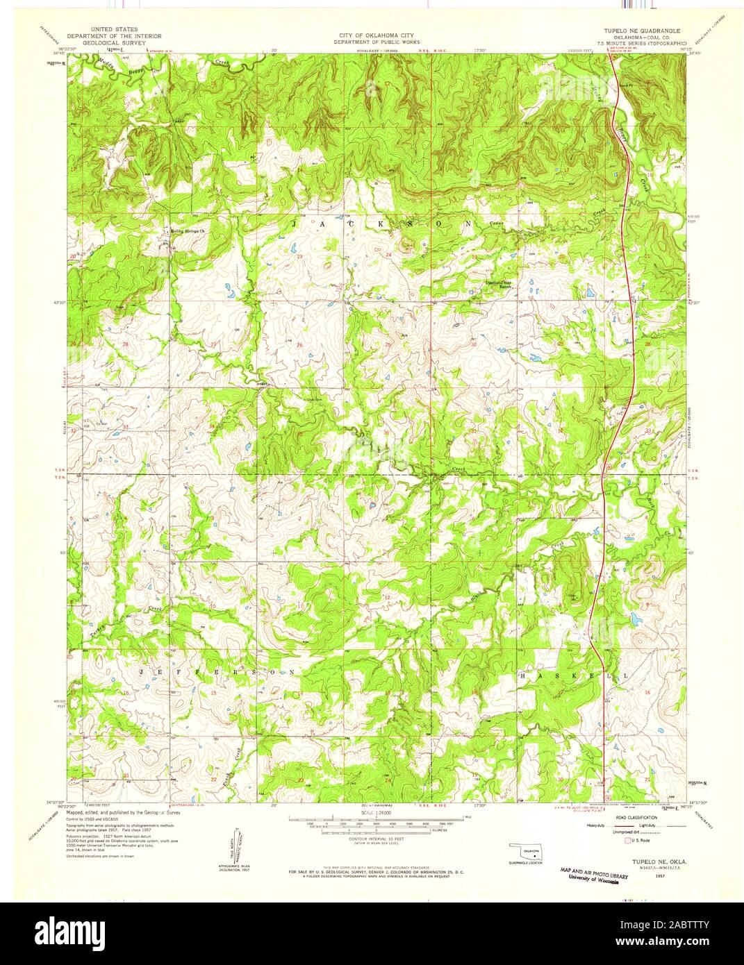USGS TOPO Map Oklahoma OK Tupelo NE 706969 1957 24000 ...