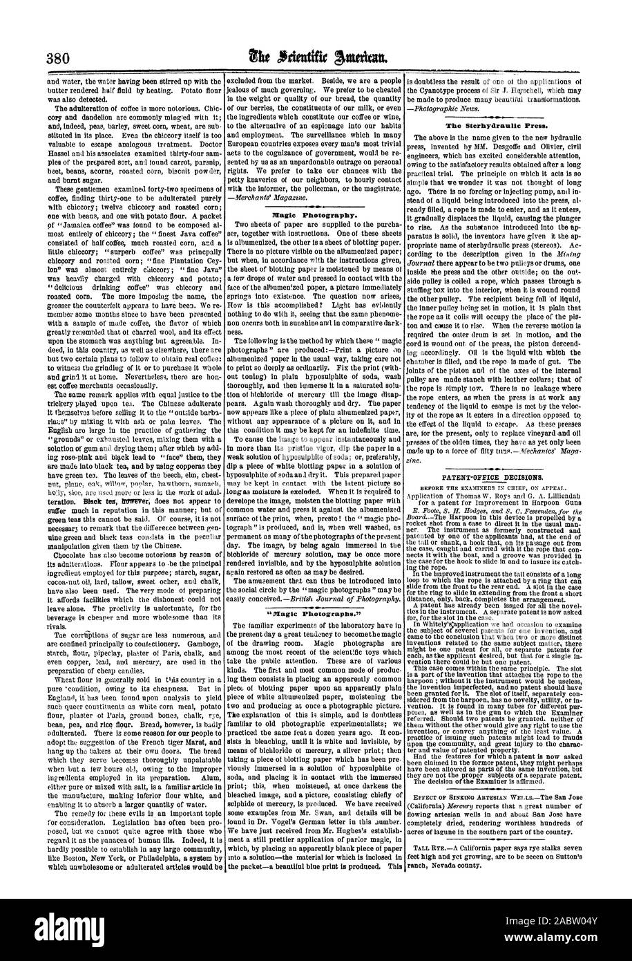 for consideration. Legislation has often been pro- found in Dr. Vogel's German letter in this dumber. posed but we cannot quite agree with those who We have just received from Mr. Hughes's establish regard it as the panacea of human ills. Indeed it is went a still prettier application of par:or magic in hardly possible to establish in any large community which by placing an apparently blank piece of paper like Boston New York or Philadelphia a system by into a solution—the material for which is inclosed in feet high and yet growing are to be seeen on Sutton's ranch Nevada county., scientific Stock Photo
