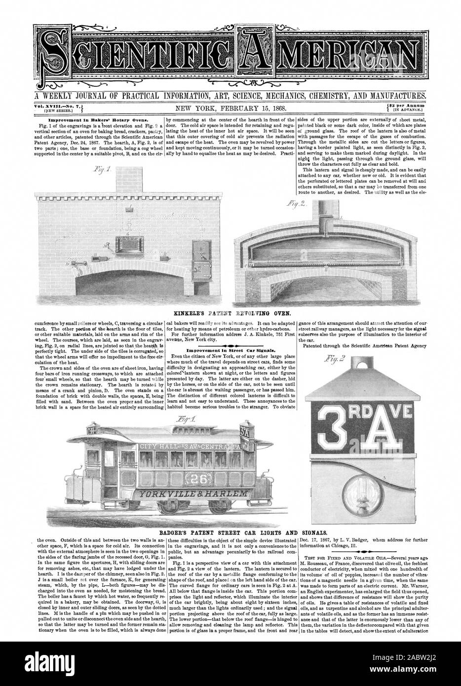 Vol. XVIII.--No. 7. MS per Annum MERMALEkti KINKELE'S PATENT REVOLVING OVEN. Improvement in Street Car Sigu. BADGER'S PATENT STREET CAR LIGHTS AND SIGNALS., scientific american, 1868-02-15 Stock Photo