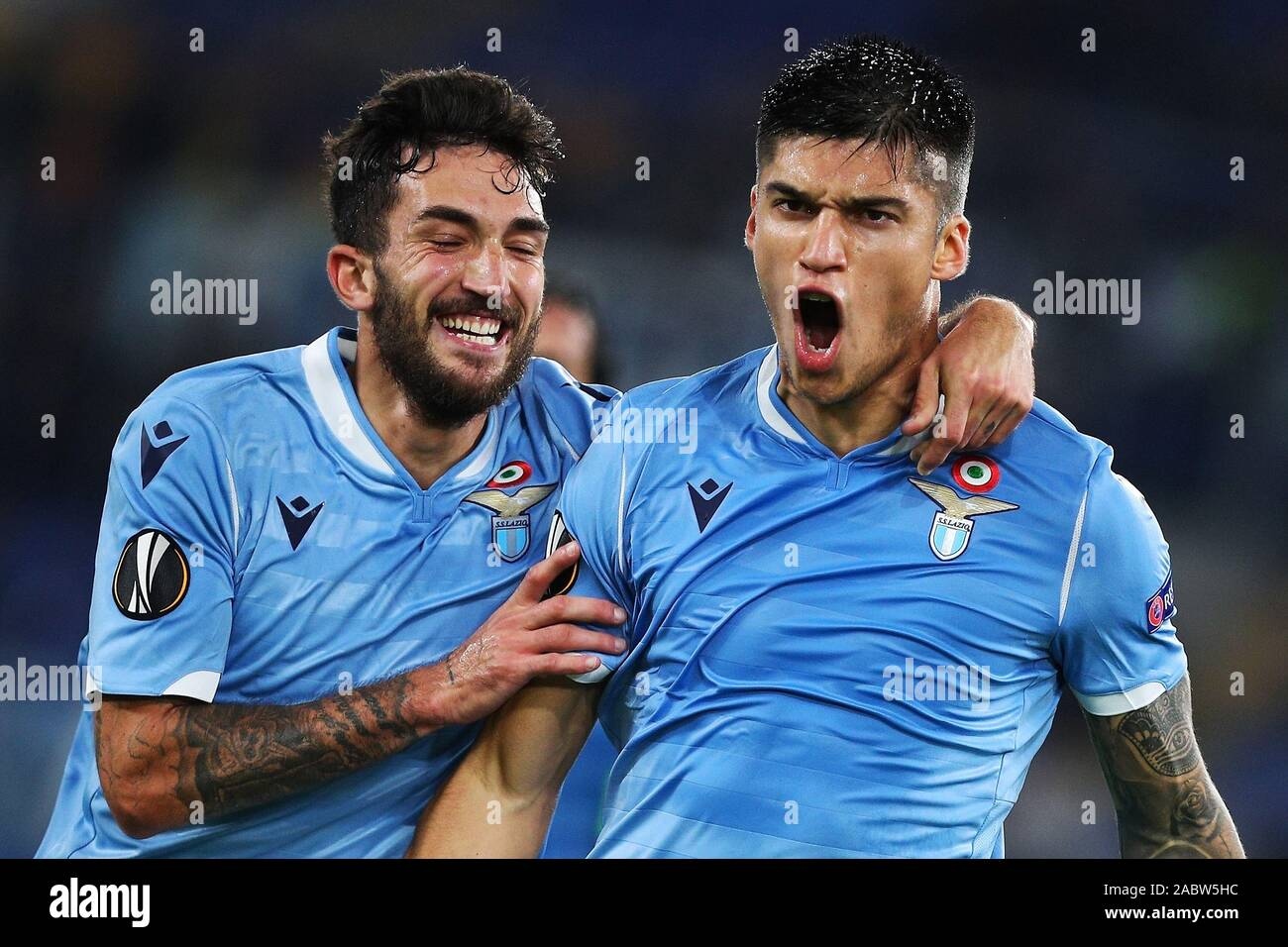 Joaquin Correa of Lazio celebrates with Danilo Cataldi after scoring 1-0 goal during the UEFA Europa League, Group E football match between SS Lazio and CFR Cluj on November 28, 2019 at Stadio Olimpico in Rome, Italy - Photo Federico Proietti/ESPA-Images Stock Photo