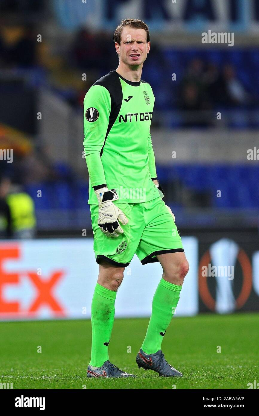 Cluj goalkeeper Giedrius Arlauskis reacts at the end of the UEFA Europa League, Group E football match between SS Lazio and CFR Cluj on November 28, 2019 at Stadio Olimpico in Rome, Italy - Photo Federico Proietti/ESPA-Images Stock Photo