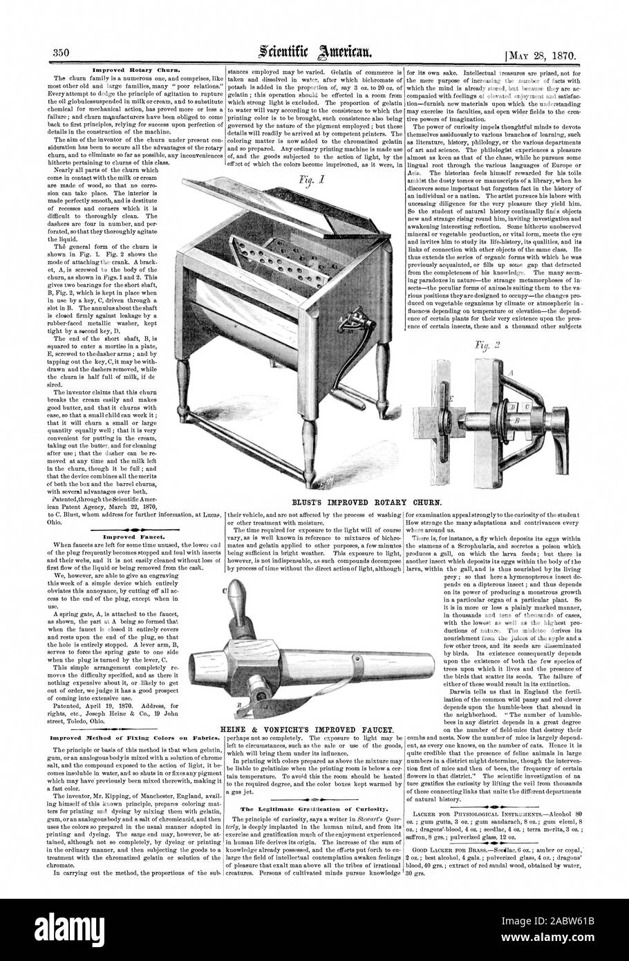 Improved Rotary Churn. -1S-41 Improved Faucet. Improved Method of Fixing Colors on Fabrics. The Legitimate Gratification of Curiosity. BUST'S IMPROVED ROTARY CHURN. HEINE & VONFICHT'S IMPROVED FAUCET., scientific american, 1870-05-28 Stock Photo