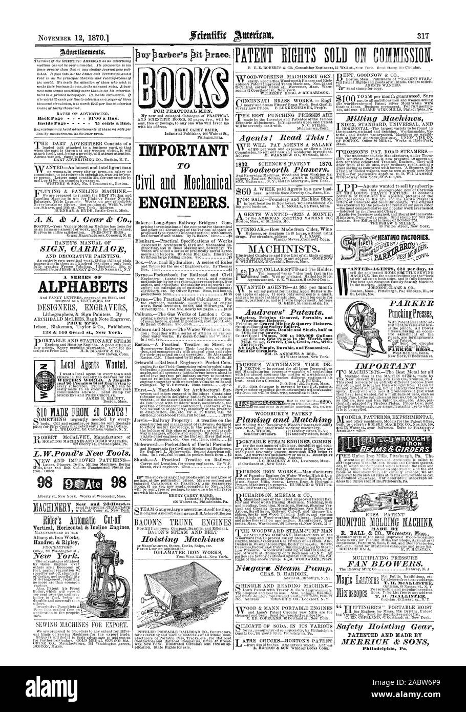 """ALPHABETS IMPORTANT ENGINEERS. PATENTED AND MADE BY Philadelphia Pa. 98 Ate 98 New and 2d-liand."""" PARKER BROS., scientific american, 1870-11-12 Stock Photo"""