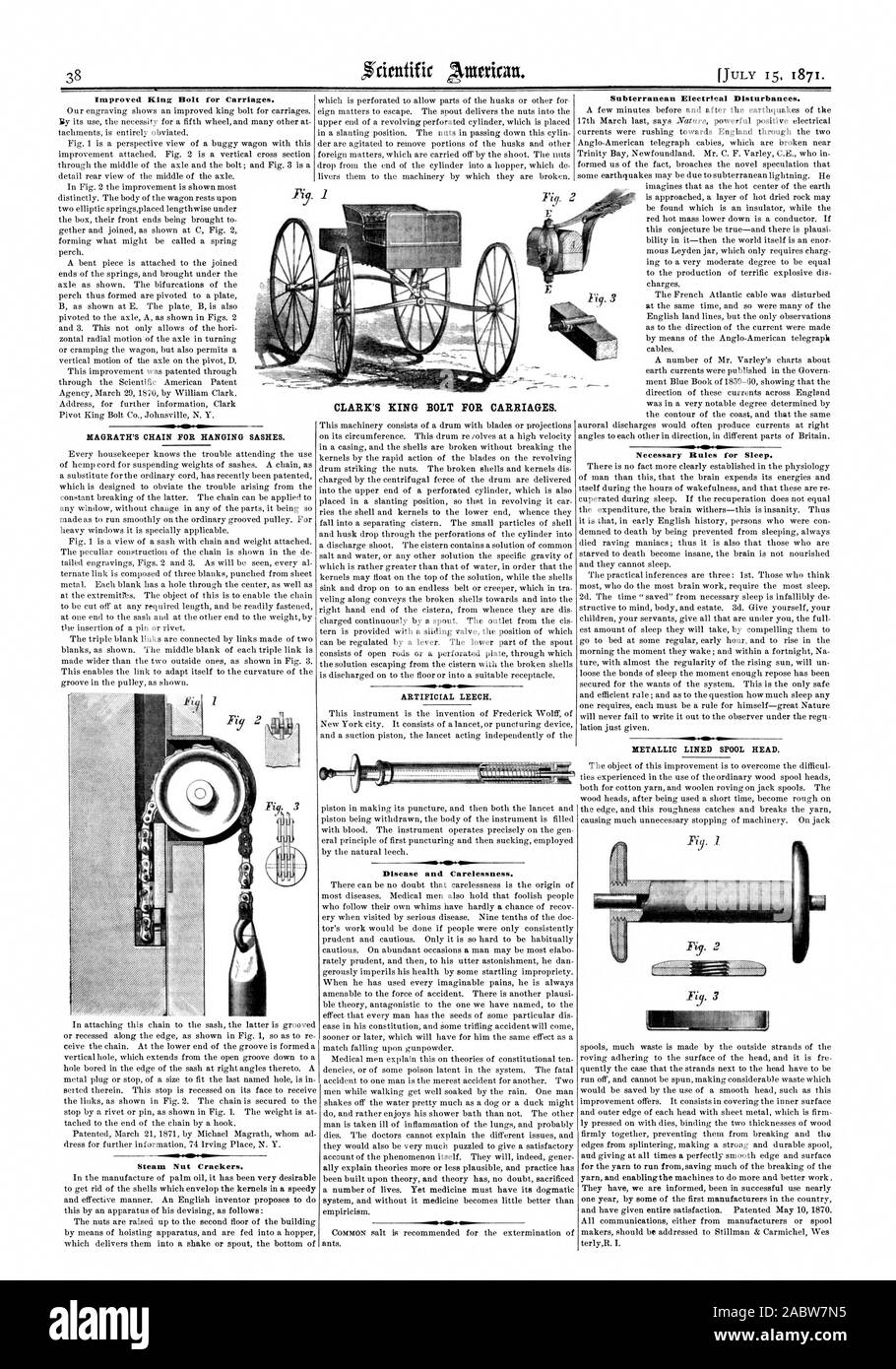 MAGRATH'S CHAIN FOR HANGING SASHES. CLARK'S KING BOLT FOR CARRIAGES. ARTIFICIAL LEECH. METALLIC LINED SPOOL HEAD. firmly together preventing them from breaking and the edges from splintering making a strong and durable spool for the yarn to run from saving much of the breaking of the They have we are informed been in successful use nearly one year by some of the first manufacturers in the country terlyR. I., scientific american, 1871-07-15 Stock Photo