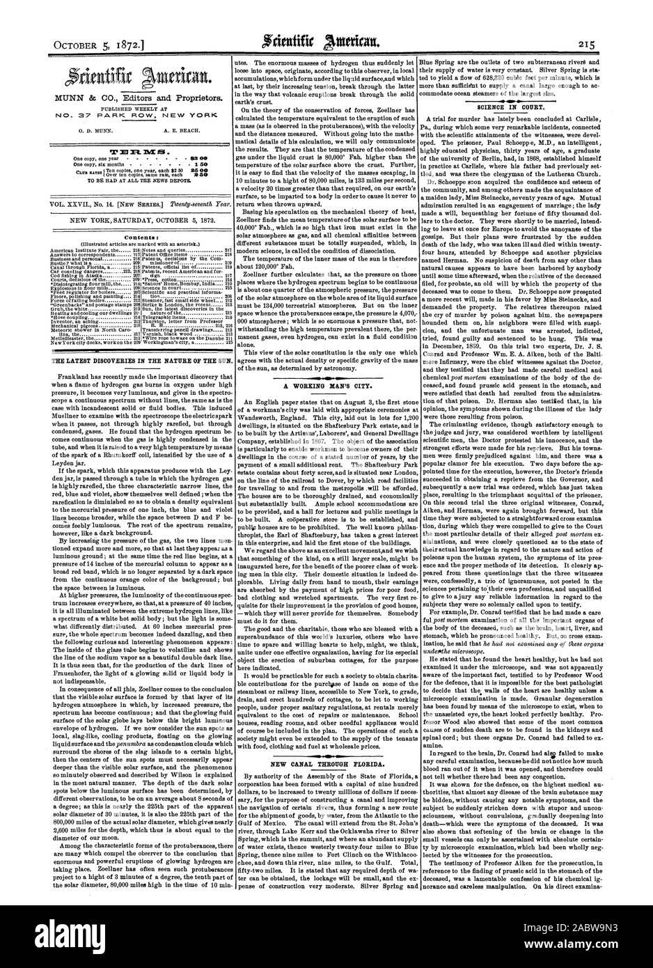 MUNN & CO. Editors and Proprietors. NO  37 PARK ROW NEW YORK, scientific american, 1872-10-05 Stock Photo