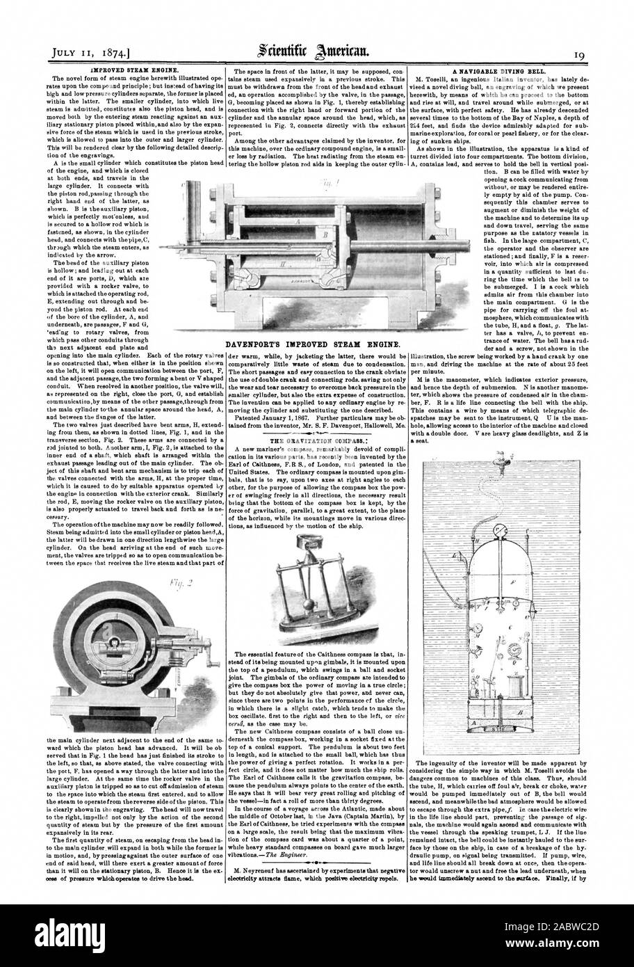 DAVENPORT'S IMPROVED STEAM ENGINE. he would immediately ascend to the surface. Finally if by, scientific american, 1874-07-11 Stock Photo