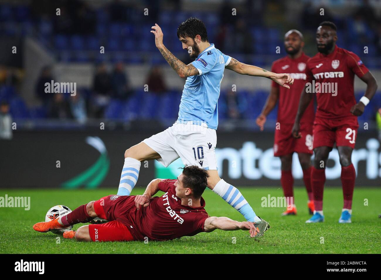 Luis Alberto of Lazio (U) and Andrei Peteleu of Cluj (D) in action during the UEFA Europa League, Group E football match between SS Lazio and CFR Cluj on November 28, 2019 at Stadio Olimpico in Rome, Italy - Photo Federico Proietti/ESPA-Images Stock Photo