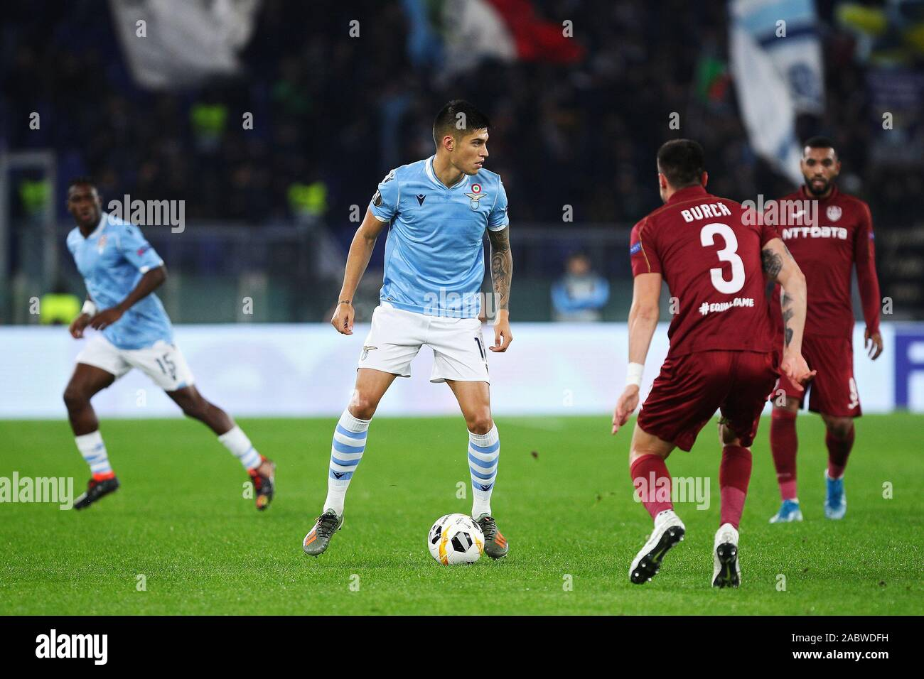 Joaquin Correa of Lazio in action during the UEFA Europa League, Group E football match between SS Lazio and CFR Cluj on November 28, 2019 at Stadio Olimpico in Rome, Italy - Photo Federico Proietti/ESPA-Images Stock Photo