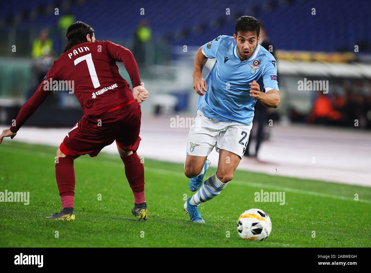 Jony of Lazio (R) and Alexandru Paun of Cluj (L) in action during the UEFA Europa League, Group E football match between SS Lazio and CFR Cluj on November 28, 2019 at Stadio Olimpico in Rome, Italy - Photo Federico Proietti/ESPA-Images Stock Photo