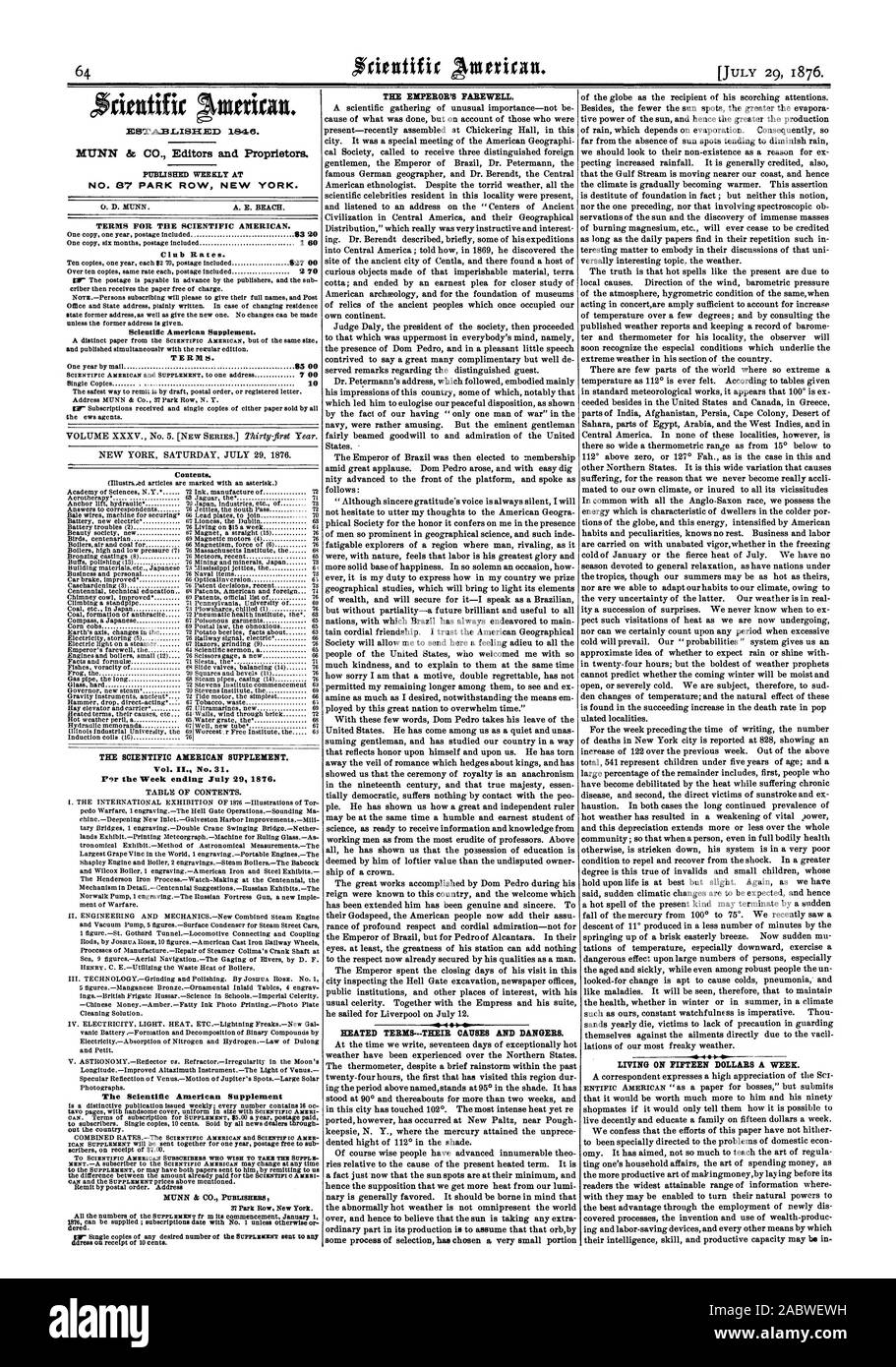 Week ending July 29 1876. TABLE OF CONTENTS. The Scientific American Supplement THE EMPEROR'S FAREWELL. LIVING ON FIFTEEN DOLLARS A WEEK. Contents., 1876-07-29 Stock Photo