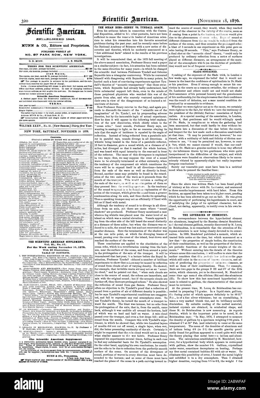 Reynolds into a triangular controversy. While he contented himself with disagreeing with Reynolds in many points he 40 4  4 04 SLADE SUSTAINED So ow THE LEVERRIER OF CHEMISTRY., scientific american, 1876-11-18 Stock Photo