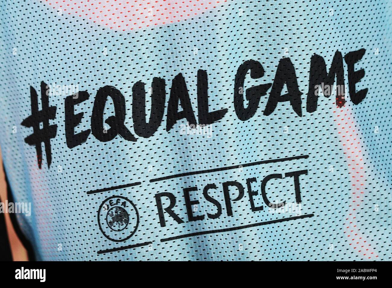 Equal Game and Respect campaign logos on a Cluj bib during the UEFA Europa League, Group E football match between SS Lazio and CFR Cluj on November 28, 2019 at Stadio Olimpico in Rome, Italy - Photo Federico Proietti/ESPA-Images Stock Photo