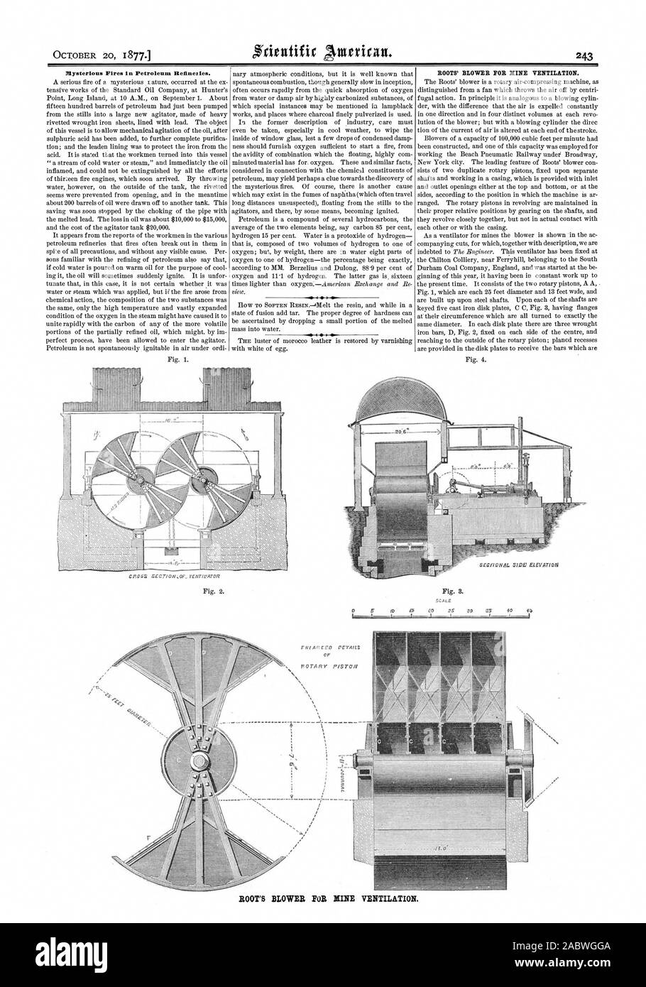 Mysterious Fires in Petroleum Refineries. ROOTS' BLOWER FOR NINE VENTILATION. ROOT'S BLOWER FOR MINE VENTILATION., scientific american, 1877-10-20 Stock Photo