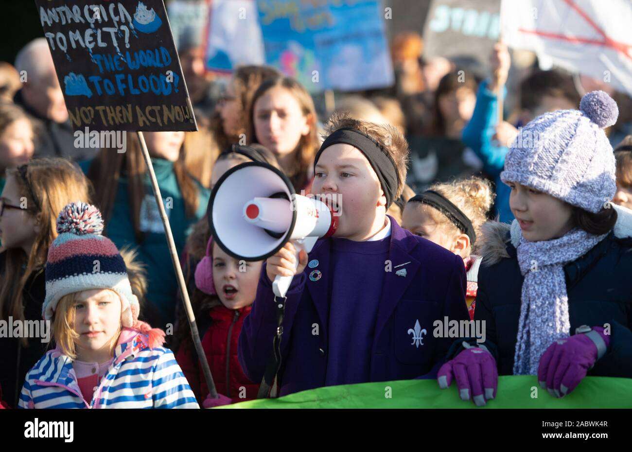 Children take part in the YouthStrike4Climate march in Cambridge. Stock Photo