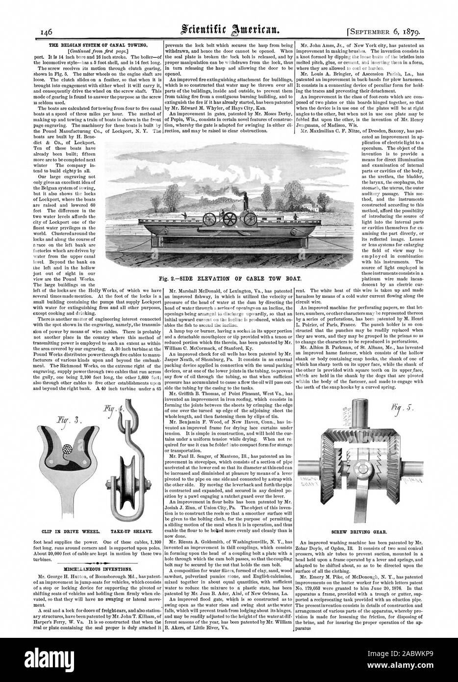 THE BELGIAN SYSTEM OF CANAL TOWING. CLIP IN DRIVE WHEEL. TARE-UP SHEAVE. MISCELLANEOUS INVENTIONS. SCREW DRIVING GEAR. Fig. 2SIDE ELEVATION OF CABLE TOW BOAT., scientific american, 1879-09-06 Stock Photo