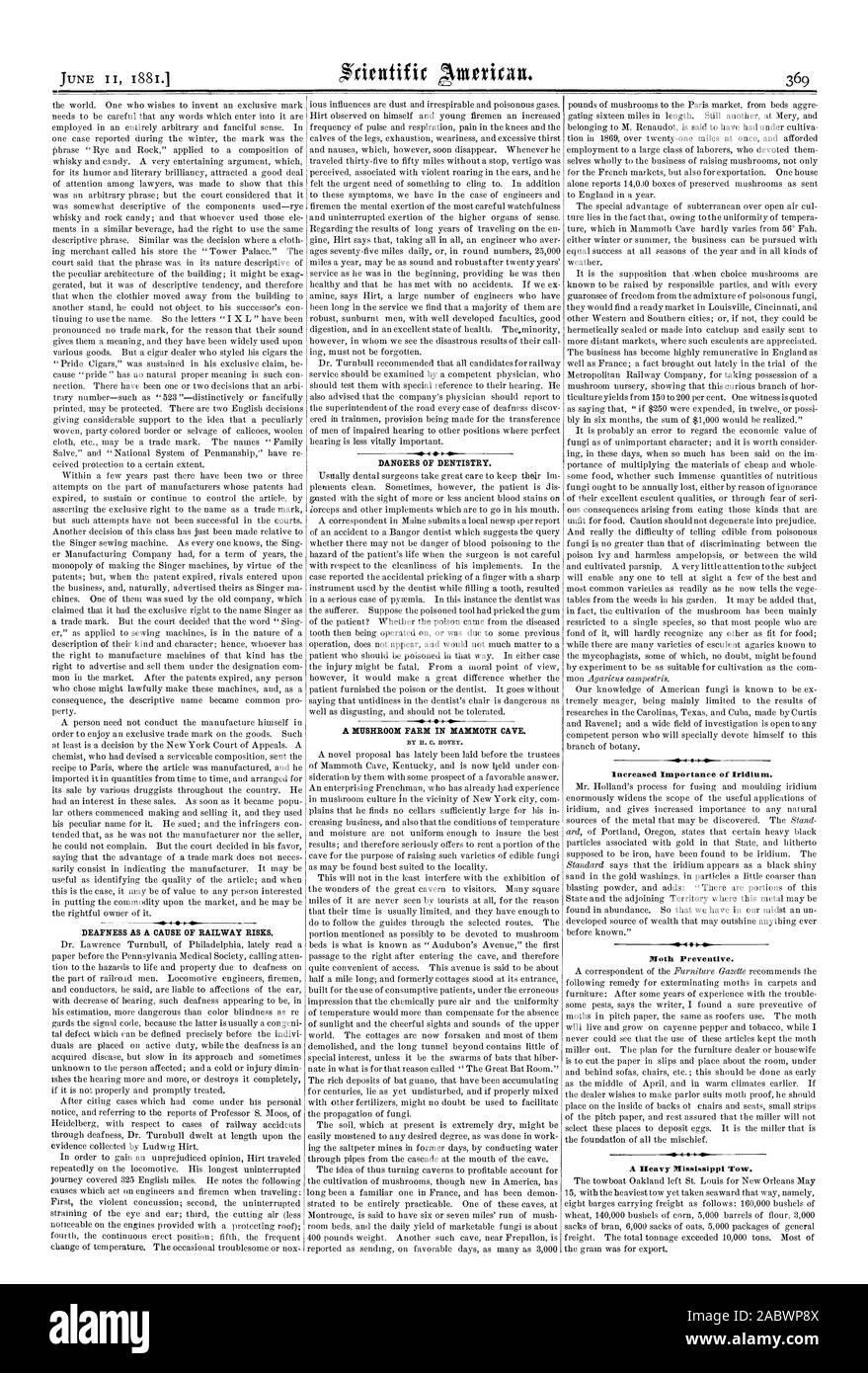 Increased Importance of Iridium. Moth Preventive. A Heavy Mississippi Tow., scientific american, 1881-06-11 Stock Photo